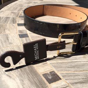 New! MICHAEL Michael Kors Black Monogrammed Belt